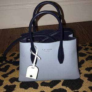 NWT Kate Spade Baby blue / Navy small satchel